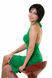 Woman on stool Royalty Free Stock Photos