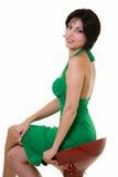 Woman on stool Royalty Free Stock Photos