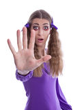 Woman stop gesture sing with hand Royalty Free Stock Photos