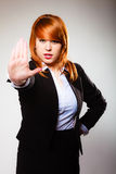 Woman with stop hand sign gesture Royalty Free Stock Photos