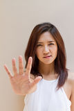 Woman with stop, reject, refuse, forbid, negative hand sign Stock Images
