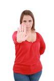 Woman stop sign Stock Photos