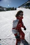 Woman Stopping At Ski Royalty Free Stock Image