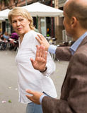 Woman stopping dialog Stock Photos