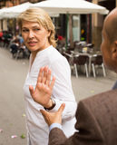 Woman stopping dialog Royalty Free Stock Image