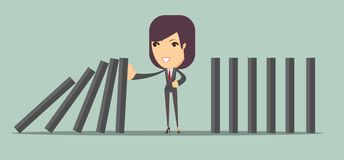 Woman stopping the domino effect with falling dominoes. Vector illustration of woman stopping the domino effect with falling dominoes Royalty Free Stock Photo