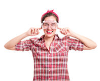 Woman stops her ears from Royalty Free Stock Photo
