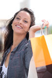 Woman with store bags stock photos