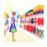 Woman in the store selects the goods. Vector illustration stock illustration