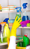 Woman storing cleaning tools in pantry Stock Photography