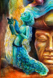 A woman story teller with puppets and protective spirits, fantasy imagination detailed colorful painting. Stock Photos