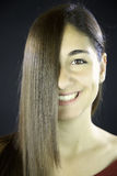 Woman with straight hair in front of her face Royalty Free Stock Photo