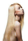 Woman with straight long blond hair isolated. Well-being & spa. Sensual woman model with shiny straight long blond hair. Health, beauty, wellness, haircare Stock Images