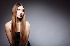 Woman straight long hair make-up posing Stock Photography