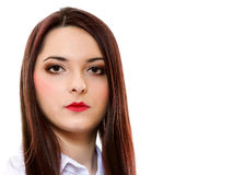 Woman straight long hair make-up posing Royalty Free Stock Images
