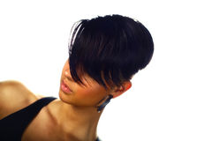 Woman with straight short hair Stock Photography