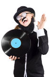 Woman in disguise with vinyl record Stock Image