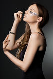Woman with strasses. Elegant fashionable woman with strasses Royalty Free Stock Images