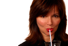 Woman With Straw Stock Image
