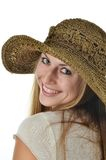 Woman with Straw Hat Royalty Free Stock Photos