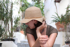 Woman straw hat stock images