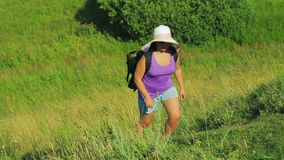 ea6b5bd7cf333 A woman in a straw hat with a backpack rises up the mountain along the path