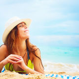 Woman Straw Hat Lying Sand Summer Vacation Royalty Free Stock Image