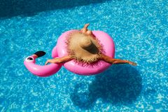 Woman with straw hat in the pool with an inflatable pink flamingo royalty free stock photography