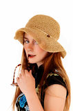 Woman with straw hat. Stock Image