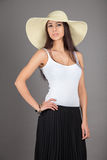 Woman in straw hat Stock Photos