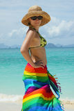The woman in  straw hat standing on seacoast Stock Photo