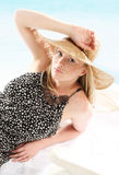Woman in straw hat Royalty Free Stock Photos