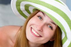 Woman straw hat in sunny Royalty Free Stock Photography
