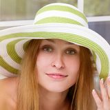 Woman straw hat in sunny Stock Photography