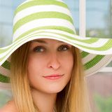 Woman straw hat in sunny Royalty Free Stock Photo