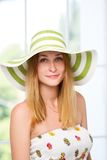 Woman straw hat in sunny Stock Images