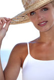 Woman with straw Hat Royalty Free Stock Images