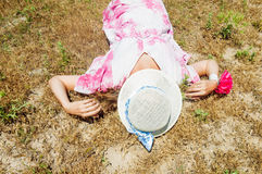 Woman in straw hat Royalty Free Stock Image