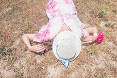 Woman in straw hat Royalty Free Stock Images