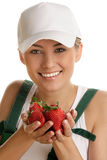 Woman with strawberries. Portrait of young happy woman with strawberries isolated on white background Royalty Free Stock Photos