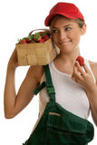 Woman with basket of strawberries Royalty Free Stock Image