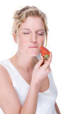 Woman with strawberry Royalty Free Stock Photos