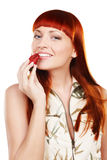 Woman with strawberry Stock Photography