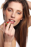 Woman with strawberry Royalty Free Stock Photo