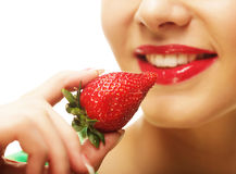 Woman with strawberry Royalty Free Stock Image