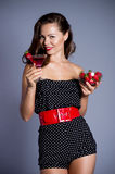 Woman with strawberry cocktail Stock Photos