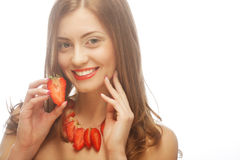 Woman with strawberry on the white background Stock Photo