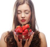 Woman with strawberry on the white background Stock Images