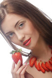 Woman with strawberry on the white background Royalty Free Stock Images