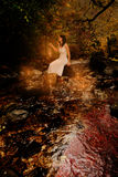 Woman in stream candles Royalty Free Stock Photos